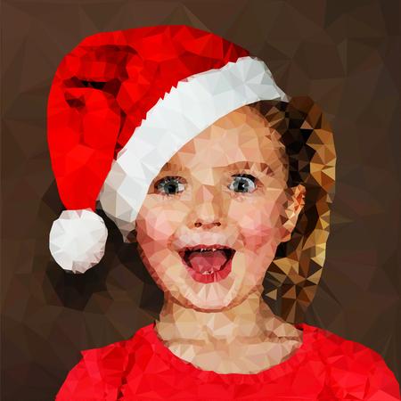 Illustration of surprised girl in santa cap photo