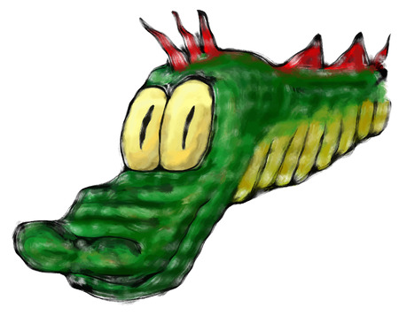 neck: Green dragons head with neck in cartoon style Illustration