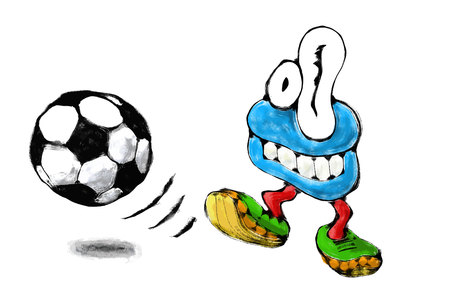 funy: Funny soccer player as cartoon face monster with legs