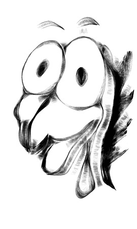 funy: Funny doodle chicken character face in cartoon style