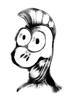 funy: Funny doodle character face in cartoon style