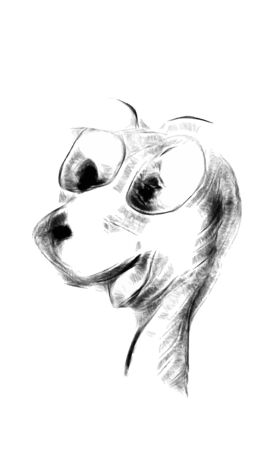 open mouth: Funny doodle face with snout and open mouth