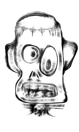 funy: Doodle Frankenstein monster face in cartoon style