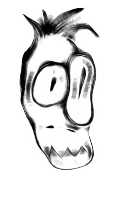 funy: Funny doodle character face with one big eye