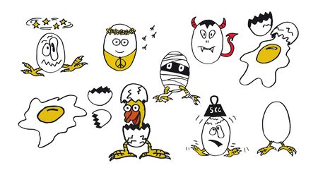 Funny doodle set of crazy eggs in cartoon style