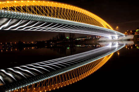 프라하 트로 브리지. 아름다운 밤 풍경보기 스톡 콘텐츠