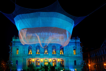 cretive: Night photos of light installations during Signal Festival 2015 in Prague. Photo of videomapping and light installation. Third edition of this cultural event in the Prague, the main city of Czech Republic in the middle of Europe.