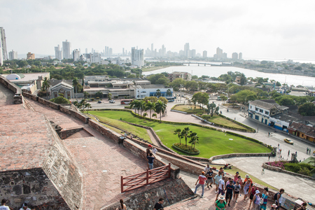 barajas: Cartagena, Colombia - 20 February, 2011 - City view from the top of San Felipe de Barajas fortress Editorial