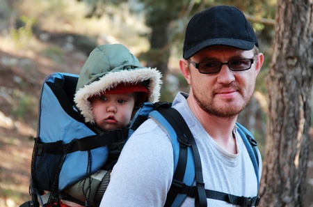 Dad and Child in Baby Hiking photo