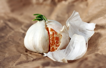 organic garlic with a slice of tangerine. Concept - an amazing series. photo