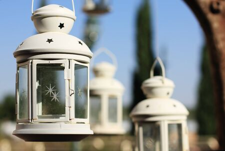 Christmas lantern in the summer background photo