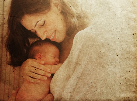 mother and son: mother with her baby. Photo in old image style. Stock Photo