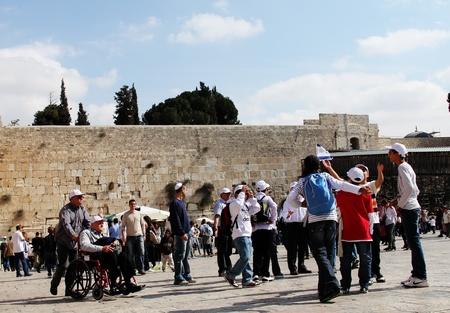 israelis: Jerusalem, Israel – November 3, 2011: Tourists and Israelis near the Western Wall in Old City of Jerusalem