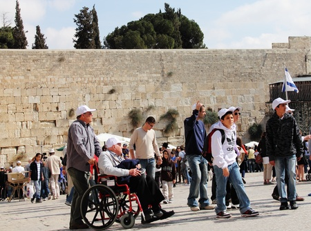 Tourists and Israelis near the Western Wall in Old City of Jerusalem Stock Photo - 12385903