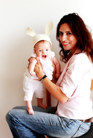 young beautiful mother with her 3 month old baby Stock Photo - 12441583