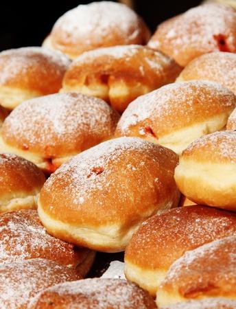 Fresh Hanukkah Donuts in the market Stock Photo