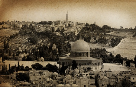 palestine: Old city of Jerusalem. Temple Mount: Dome on the Rock, Russian church, jewish cemetery