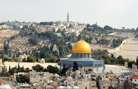 Old city of Jerusalem. Temple Mount: Dome on the Rock, Russian church, jewish cemetery photo