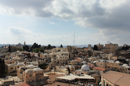 The roofs of the Old City of Jerusalem. The Temple Mount, churches, mosques. photo