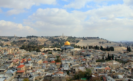 Old city of Jerusalem  Temple Mount  Dome on the Rock, Russian church, jewish cemetery Stock Photo - 12449646