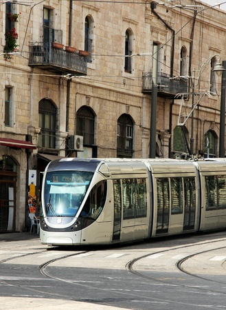 modern tram in old Jerusalem  Stock Photo - 12473543