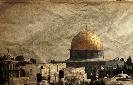 Old city of Jerusalem  picture on an old rough crumpled paper