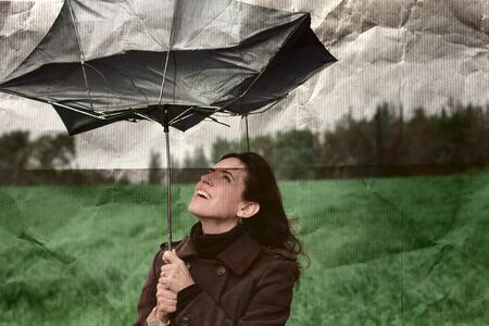 girl with umbrella  Photo in old color image style Stock Photo - 12672607