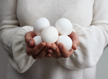 simple life: woman holding eggs  Concept - Simple Life