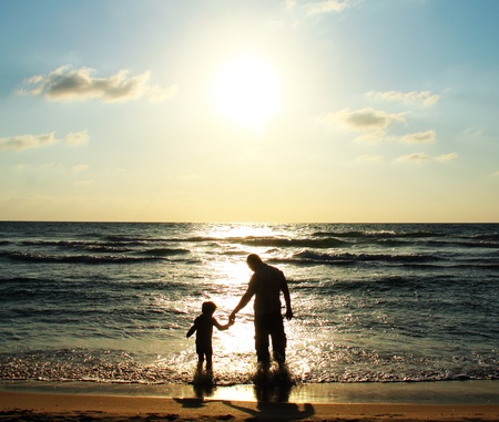 time of the day: father and son on the sea