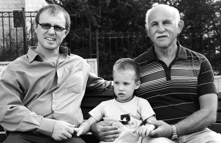 portrait of son, father and grandfather photo