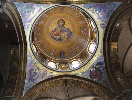 sepulchre: Sunlit painting of Jesus Christ on dome of Church of the Holy Sepulchre in Jerusalem  Editorial