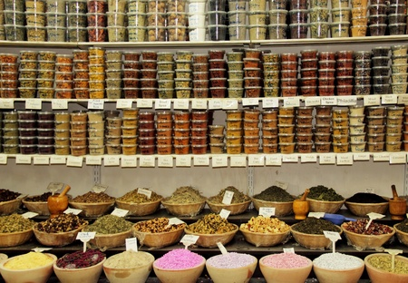 A lot of sorts spices on spice market   photo