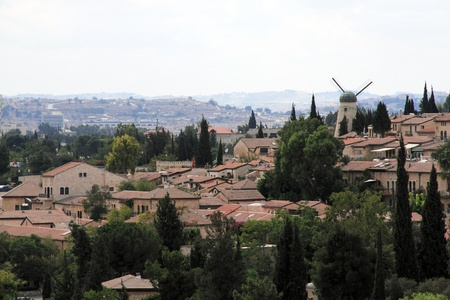 View over historical district Yemin Moshe from the Old City of Jerusalem, Israel  Stock Photo - 12695177