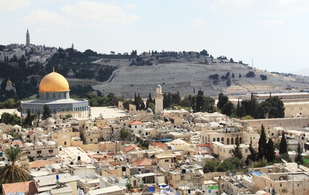 jewish houses: Old City of Jerusalem, a beautiful view of the Temple Mount, a mosque, the Wailing Wall, the Orthodox Church, the Jewish cemetery Stock Photo