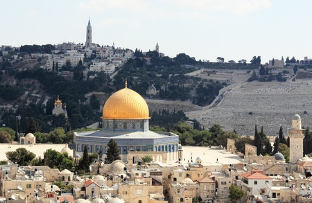jewish houses: Old city of Jerusalem. Temple Mount: Dome on the Rock, Russian church, jewish cemetery