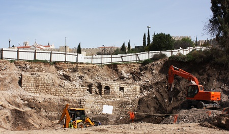 Archaeological excavations near the Jaffa Gate in Jerusalem photo