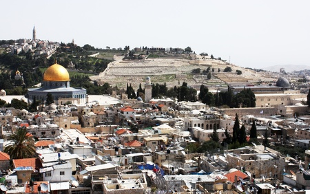 Old city of Jerusalem  Temple Mount  Dome on the Rock, Russian church, Westrn Wall, jewish cemetery  Everything is close  photo