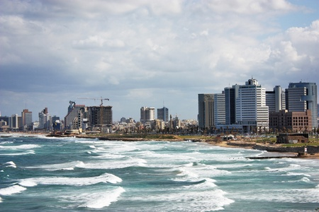 View of Tel Aviv, Mediterranean sea, beach, hotels photo