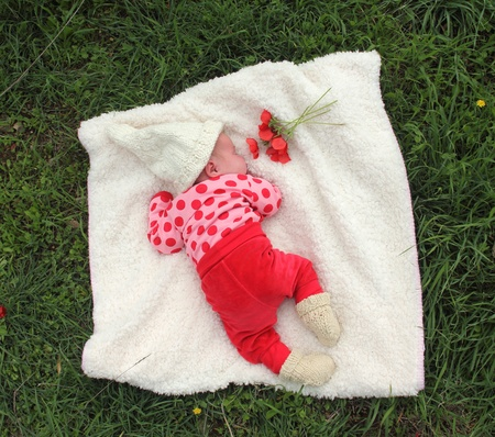 month-old girl lying on white blanket next to the red poppies Stock Photo - 12879245