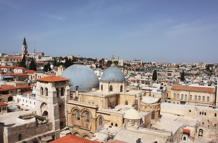 Church of the Holy Sepulcher (Church of the Resurrection), Christian Quarter, Old City of Jerusalem, Israel. Top view. photo