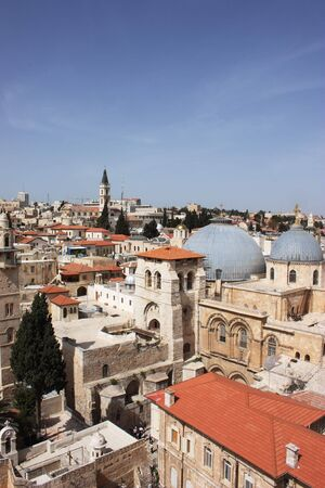 Church of the Holy Sepulcher  Church of the Resurrection , Christian Quarter, Old City of Jerusalem, Israel  Top view  photo