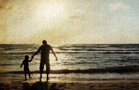 father and son holding hands: father and son on the sea  Photo in old color image style