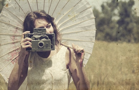 Beautiful photographer  Photo in old image style  photo