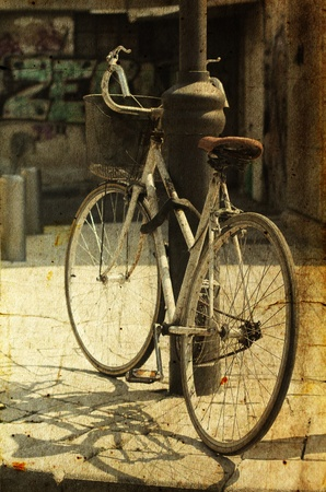 old bicycle  Photo in old image style Stock Photo - 13396102