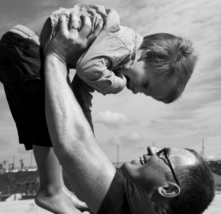 father and son on the sea Stock Photo - 14096344