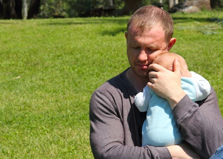 father with baby photo