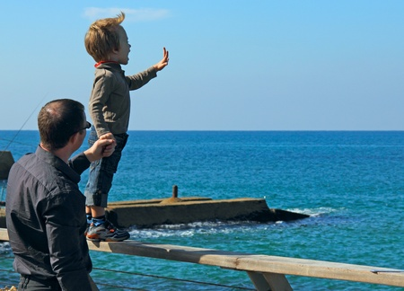 Father and son spend free time together  photo