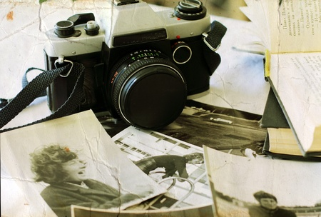 old photograph: old photographs and old camera  Youth of my mom  Stock Photo