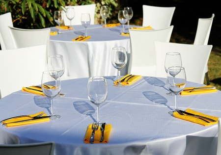 Table setting for garden banquet photo