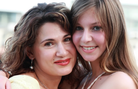 two persons only: mother with teenage daughter Stock Photo